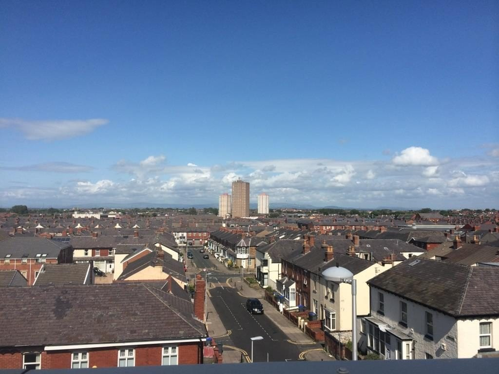 Queens Park Flats seen from the roof of Sainsbury's in Blackpool. Photo by Visit Fylde Coast, 2015