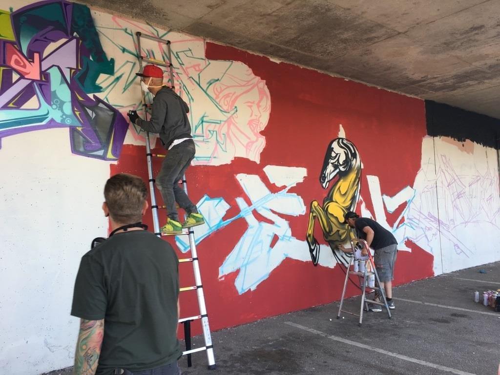 Painting underway in Bonny Street Car Park, Blackpool