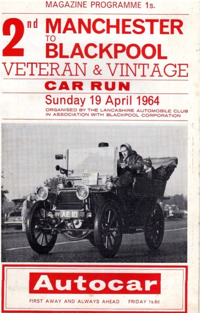 Programme for the 2nd Manchester to Blackpool Veteran and Vintage Car Run 1964