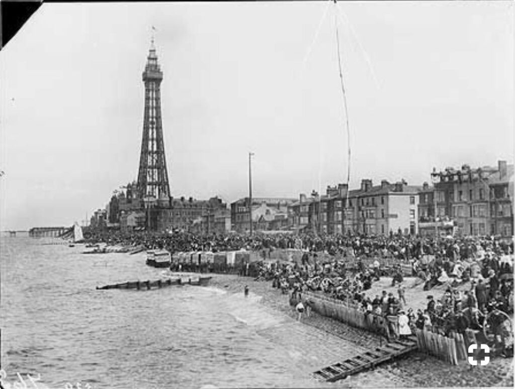 Blackpool seafront, seen from Central Pier. Photo: Historic England Archive