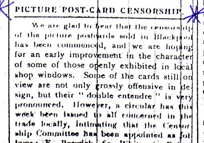 News about Postcard Censorship Board, Evening Gazette 10 May 1912