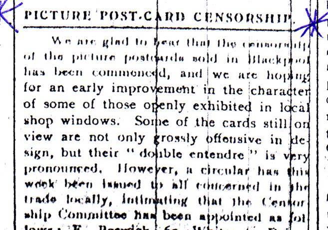 News about Postcard Censorship Board, Evening Gazette 10 May 1912