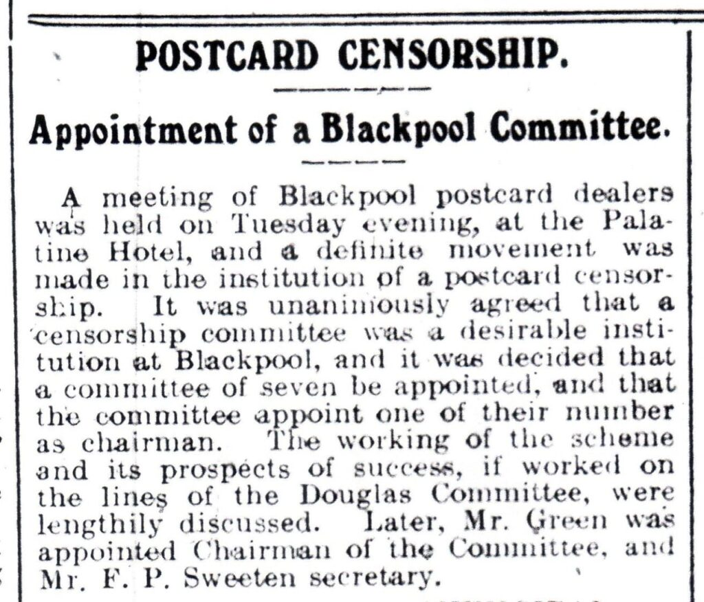 Appointment of a Postcard Censorship Committee, reported in the Blackpool Herald on 3 May 1912