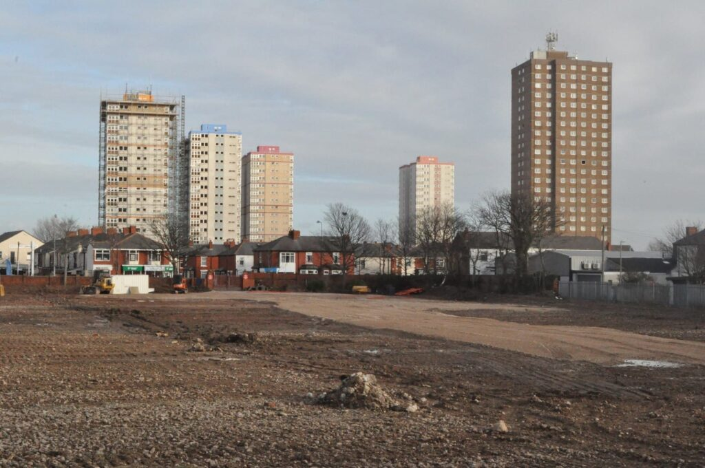 Five tower blocks at Queens Park Flats. Photo: Juliette Gregson