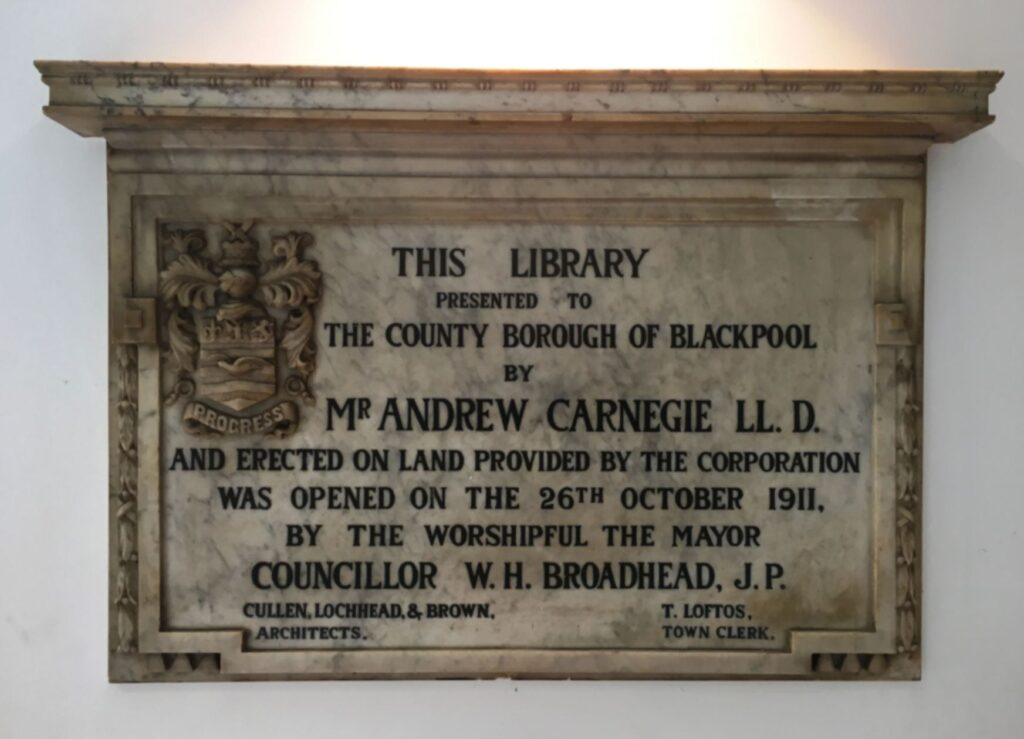 Dedication plaque at the entrance to Blackpool Central Library