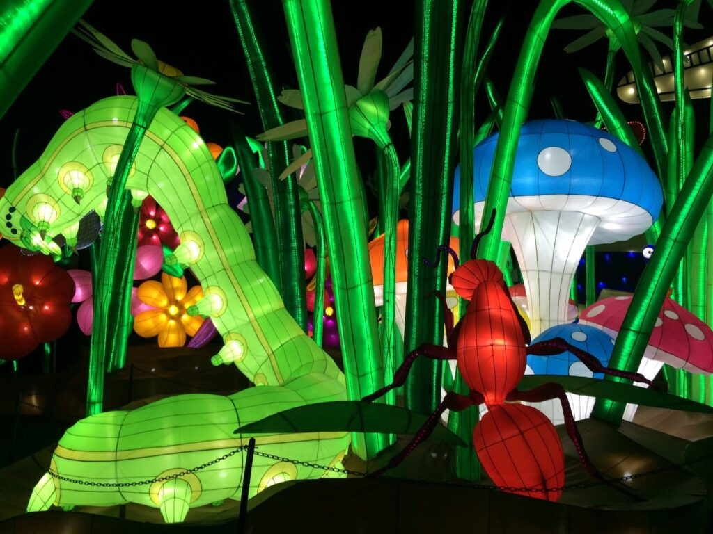 Caterpillars and toadstools at Illuminasia Blackpool