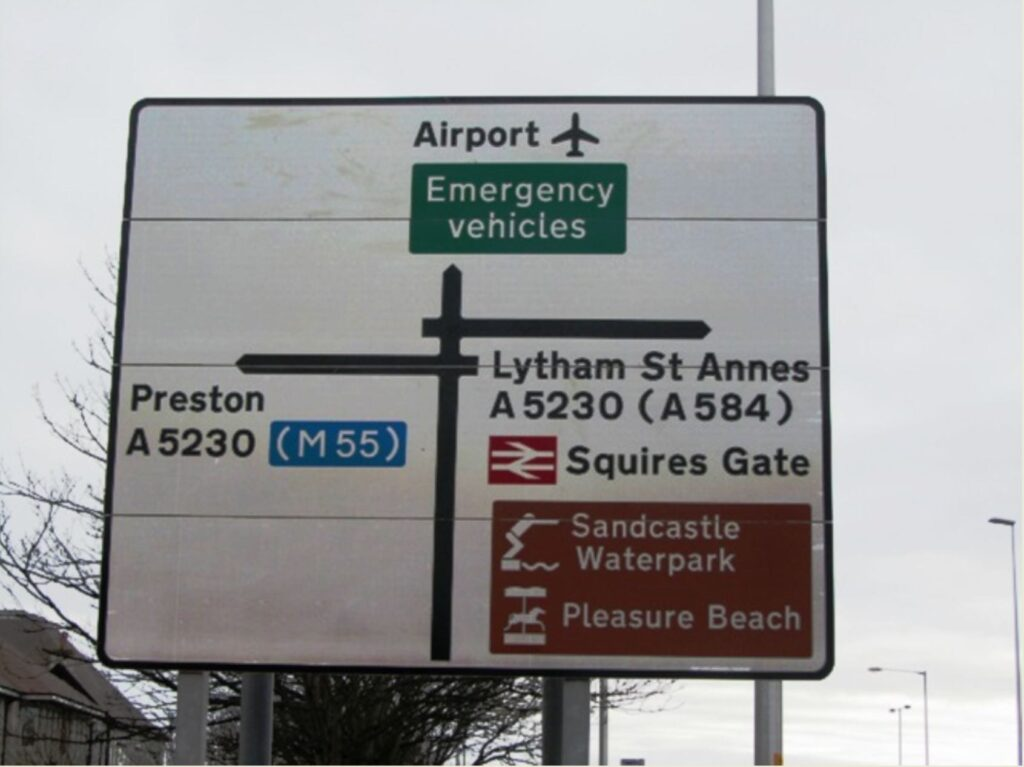 Road signs directing the way to Blackpool Airport