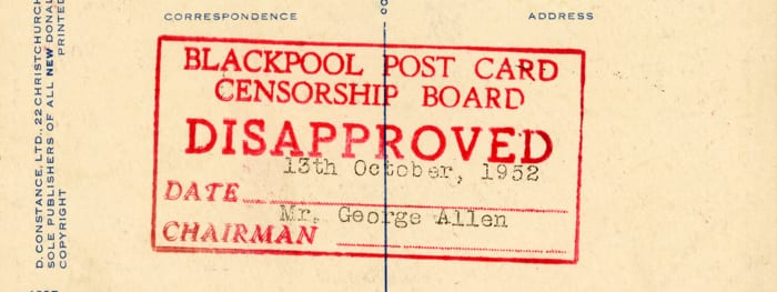 Saucy postcard disapproved by Blackpool Postcard Censorship Board