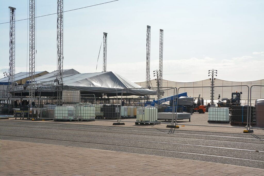 Windbreaks and staging for events on Blackpool seafront