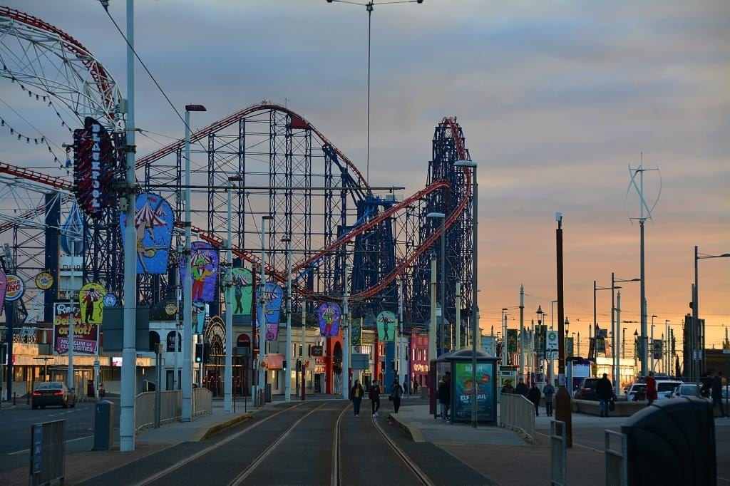 Bright lights of Blackpool, around the Pleasure Beach