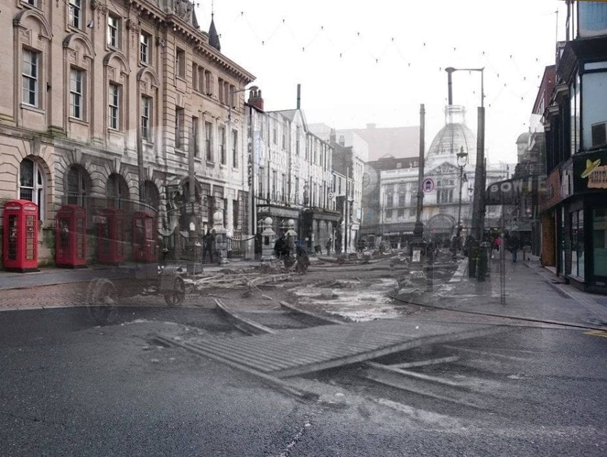Merge of old and new photos of Abingdon Street, created by Andrew Ayre