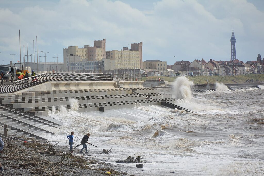 The stepped sea wall at Cleveleys meets the different design at Anchorsholme.
