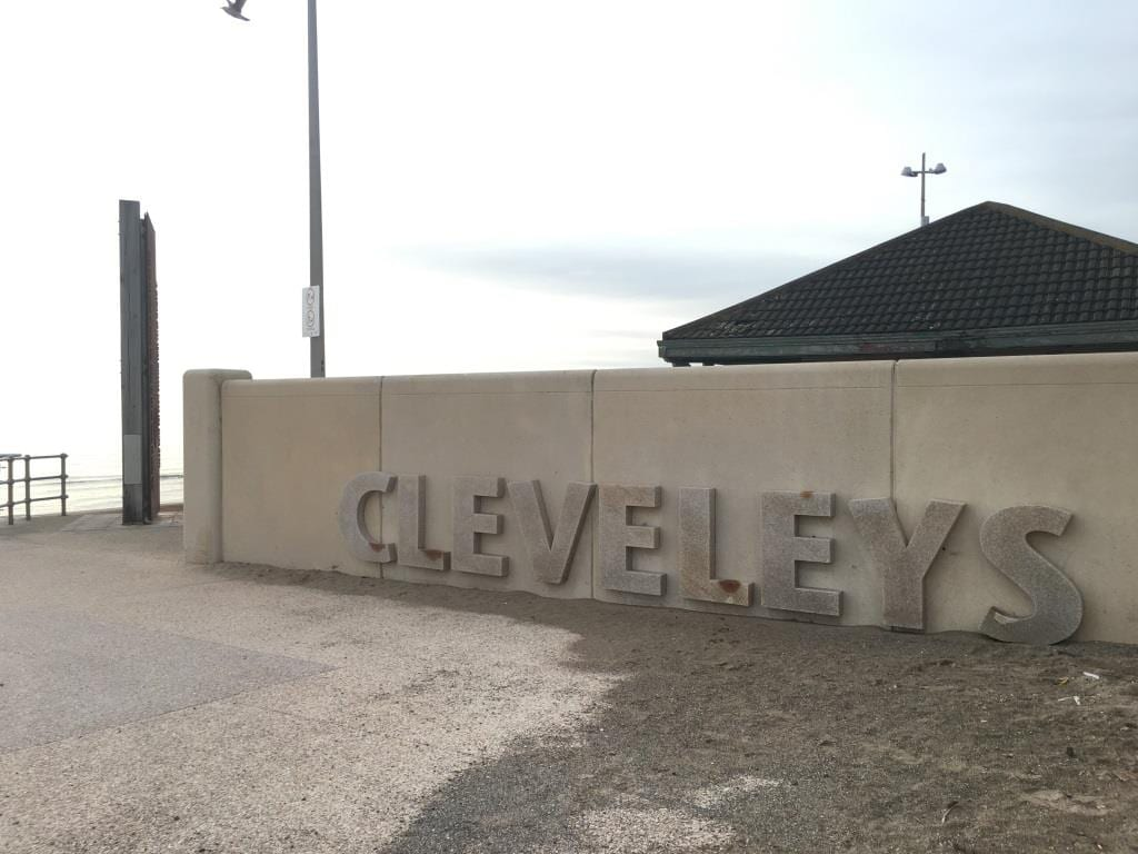 Welcome to Cleveleys - stone letters on the promenade where Anchorsholme ends
