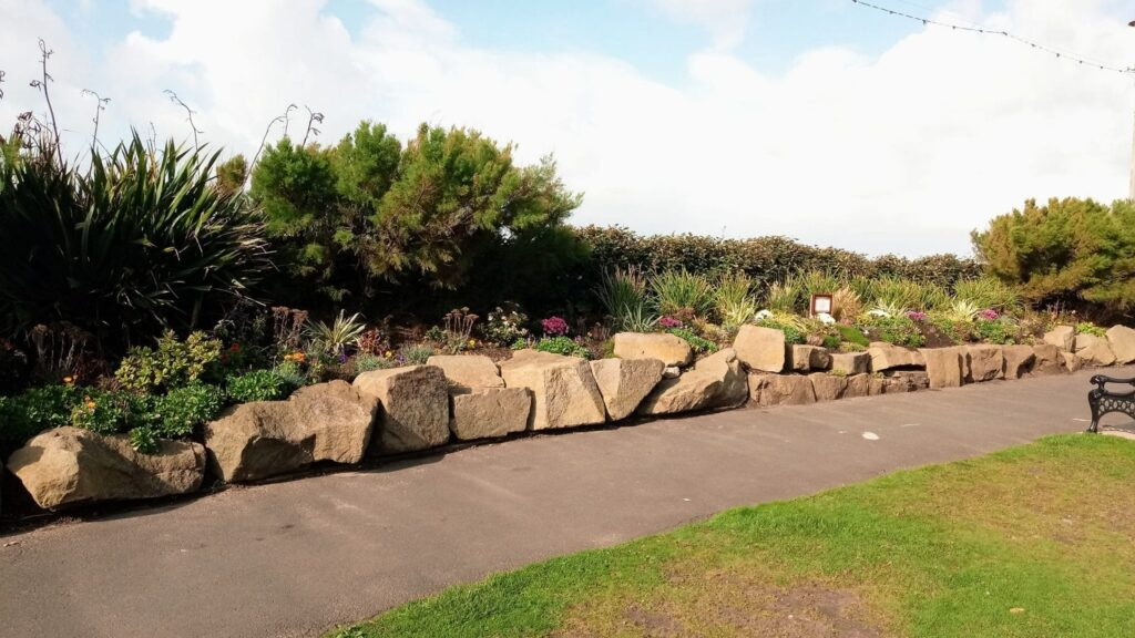 Flower beds in Jubilee Gardens Blackpool, planted by the Friends in 2019
