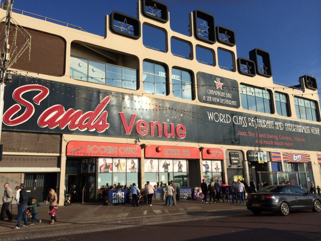 Front of the old Sands Venue on Blackpool seafront.