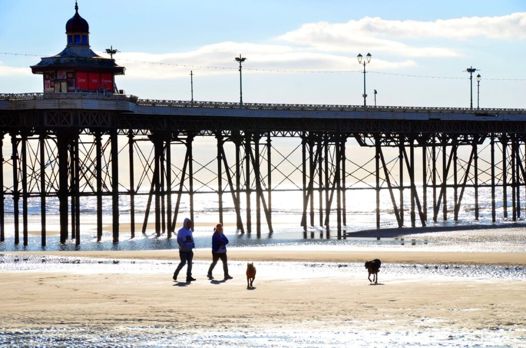 Walk on the beach and explore under Blackpool North Pier