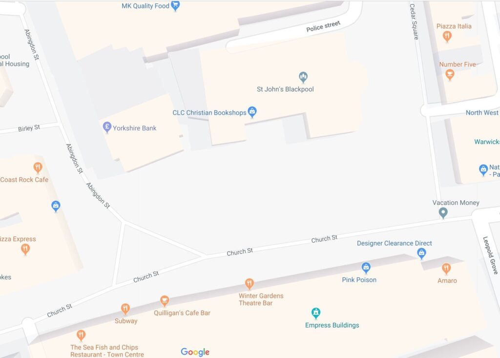 Google Map of St John's Square Blackpool. Click on it to look around.