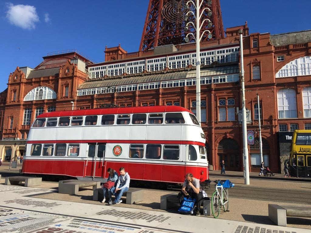 One of the heritage Blackpool trams in front of the Tower