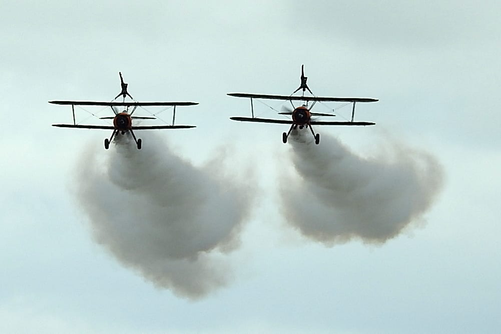 AeroSuperBatics Wing-Walkers at Blackpool Airshow 2019. Photo: Barrie C Woods