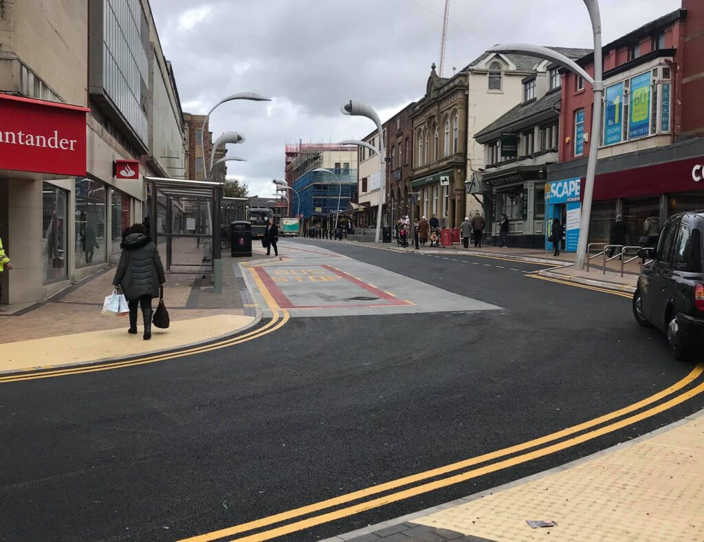 Completed bus hub works at Corporation Street